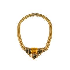 Trifari 1940s Retro Style Faux Topaz Necklace