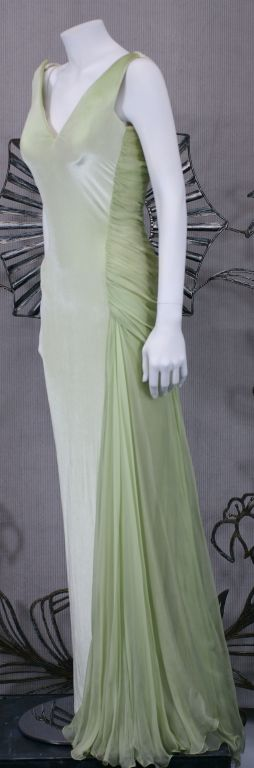 Versace Couture Seafoam Green Velvet and Chiffon Goddess Gown 2