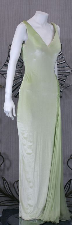 Versace Couture Seafoam Green Velvet and Chiffon Goddess Gown 3