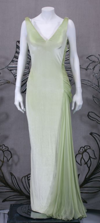 Versace Couture Seafoam Green Velvet and Chiffon Goddess Gown 5