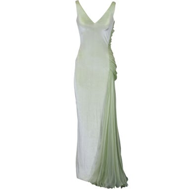 5548f8211 Versace Couture Seafoam Green Velvet and Chiffon Goddess Gown at 1stdibs