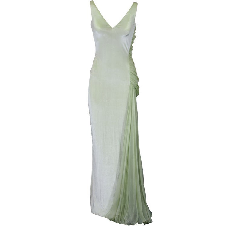 Versace Couture Seafoam Green Velvet and Chiffon Goddess Gown 1