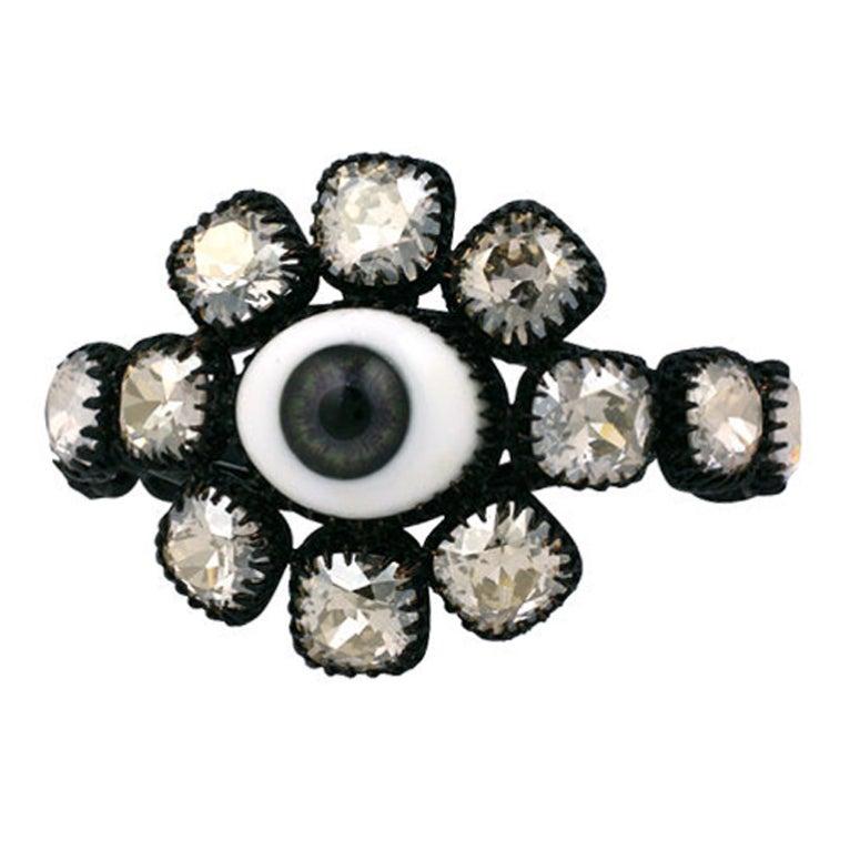 "Rodarte Jewelled Grey ""Eye"" Cuff For Sale"