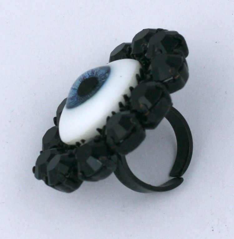 """Rodarte """"eye"""" ring made for the Japanese Horror (FW08) collection by Mark Walsh Leslie Chin. Antique taxidermy eyes were sourced for this collection which was inspired by the film """"The Grudge/ Ju-on"""". Blue eye with Jet"""