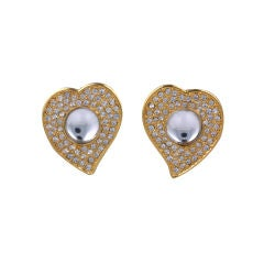Yves Saint Laurent  Pave Heart Earrings