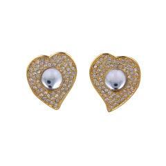 Yves Saint Laurent  Pave Heart Earrings
