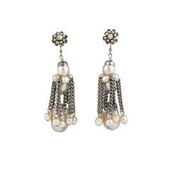 Miriam Haskell Pearl and  Silver Gilt Tassle Earrings