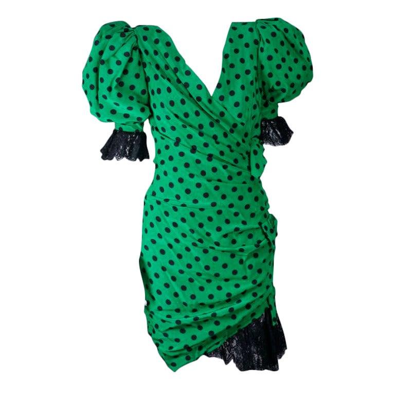 French Polka Draped Dot Cocktail Dress