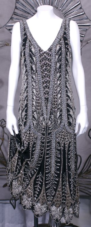 Oleg Cassini Beaded Flapper Style Dress 4