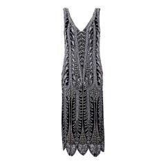 Oleg Cassini Beaded Flapper Style Dress