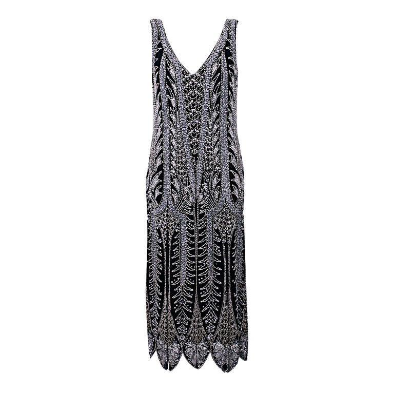Oleg Cassini Beaded Flapper Style Dress 1