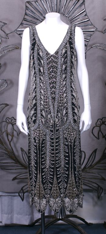 Oleg Cassini Beaded Flapper Style Dress 7