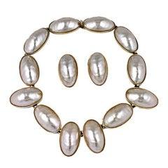 Kenneth Jay Lane Faux Mabe Pearl Collar Set