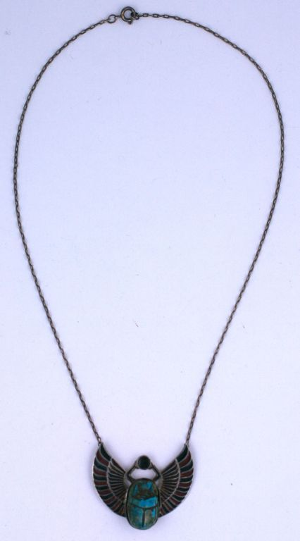 Women's Egyptian Revival  Art  Deco  Scarab Necklace For Sale
