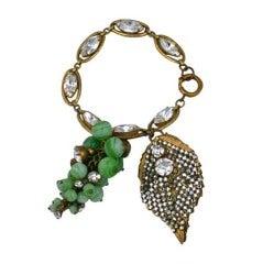 Miriam Haskell  Rare Grape Cluster Fob Bracelet