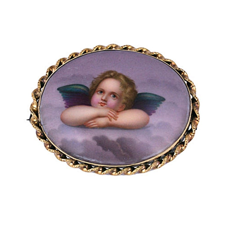 Victorian Cherub Brooch 1880s 1