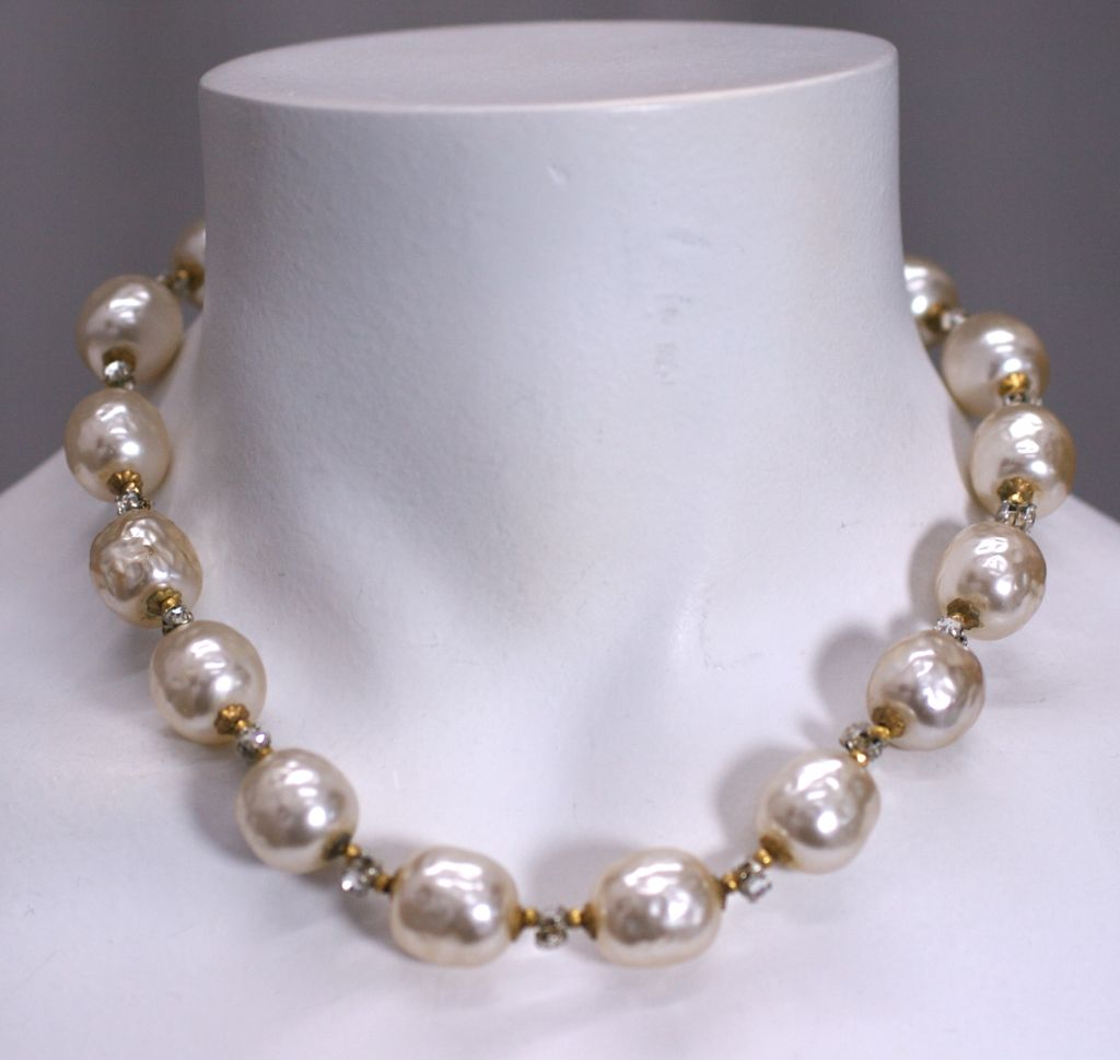 miriam haskell pearl and diamante necklace at 1stdibs