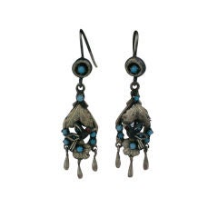 Victorian Silver Gilt Turquoise and Garnet Earrings