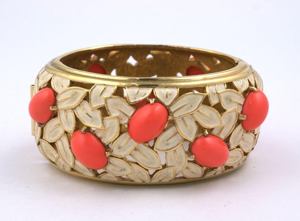 Women's Jomaz Coral and Enamel Cuff For Sale