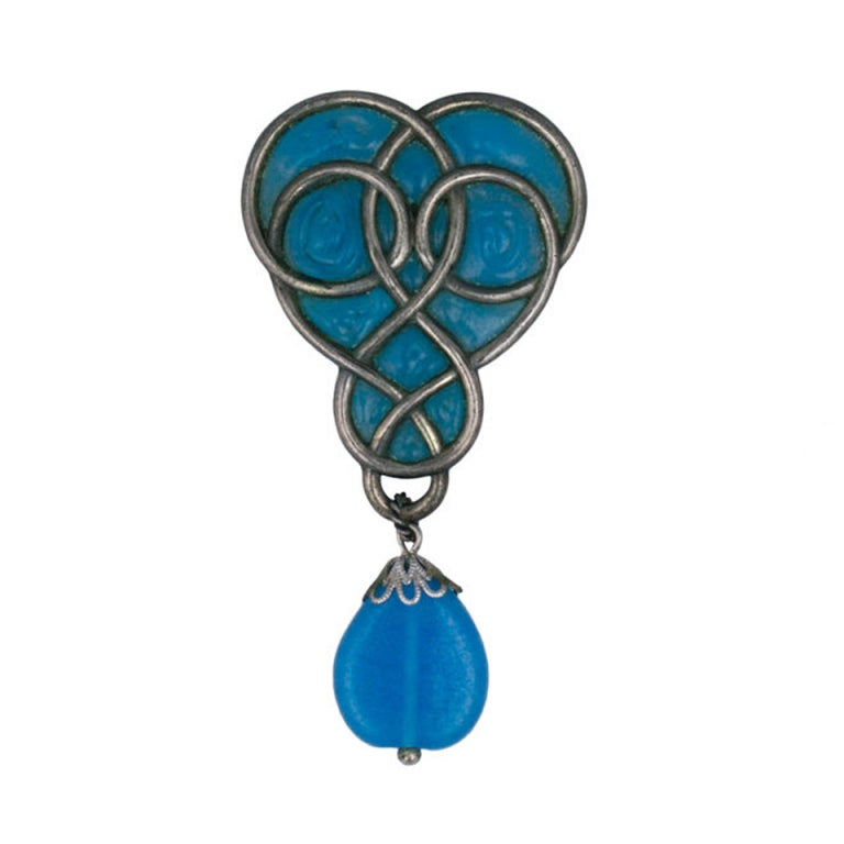 Christian Dior Poured Glass Art Nouveau Brooch For Sale