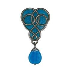 Maison Gripoix for Christian Dior Poured Glass Art Nouveau Brooch
