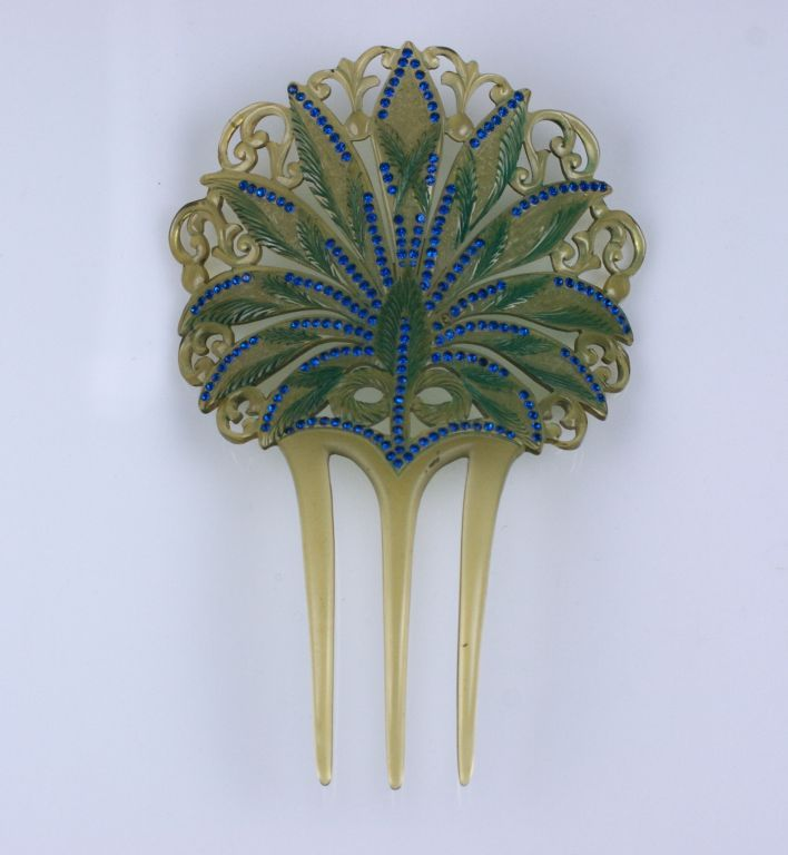 Art Nouveau Celluloid and Diamonte Hair Comb 3