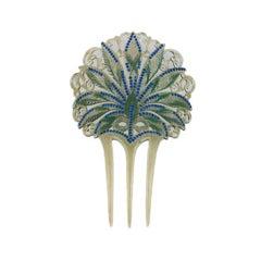 Art Nouveau Celluloid and Diamonte Hair Comb