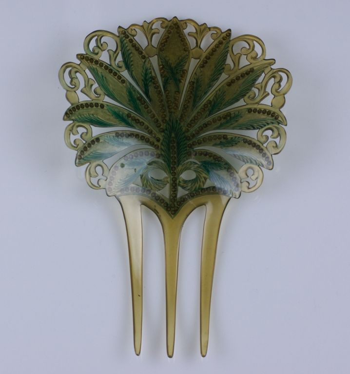 Art Nouveau Celluloid and Diamonte Hair Comb 2