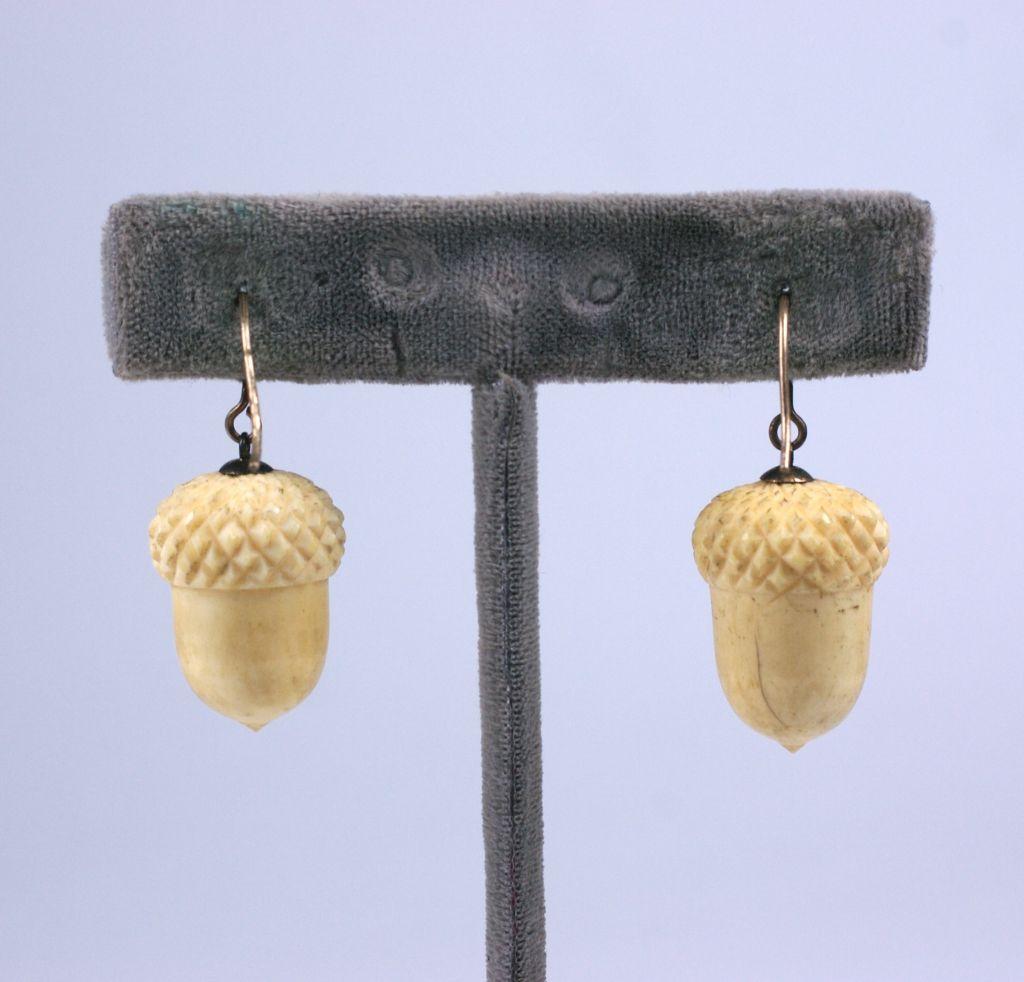 Victorian Ivory Acorn Earrings 2