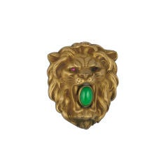 High Relief Victorian Gilded Lion Buckle
