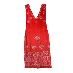 Lovely Fan Beaded Velvet 1920s Dress