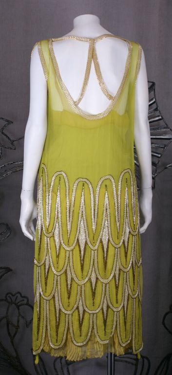 Women's Striking Chartreuse Chiffon Art Deco Flapper Dress For Sale