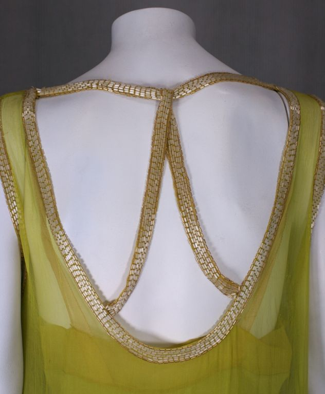 Striking Chartreuse Chiffon Art Deco Flapper Dress For Sale 1