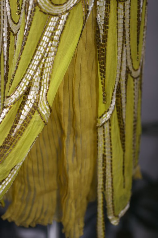 Striking Chartreuse Chiffon Art Deco Flapper Dress For Sale 2