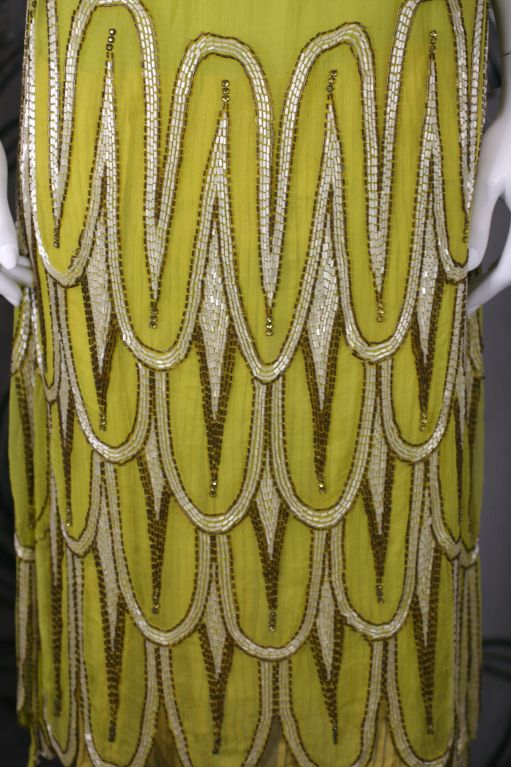 Striking Chartreuse Chiffon Art Deco Flapper Dress For Sale 3