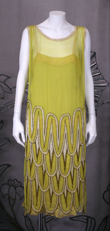 Striking Chartreuse Chiffon Art Deco Flapper Dress For Sale 4