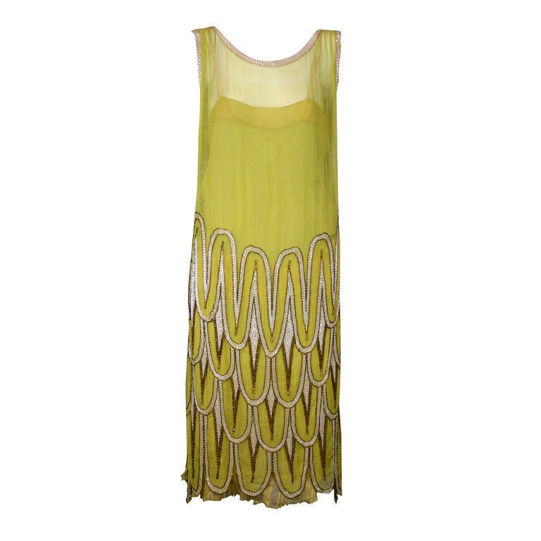 Striking Chartreuse Chiffon Art Deco Flapper Dress For Sale