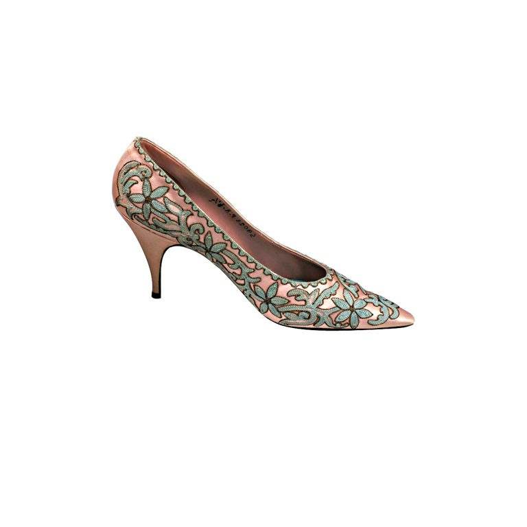 Italian Tambour Embroidered Pink Silk Pumps