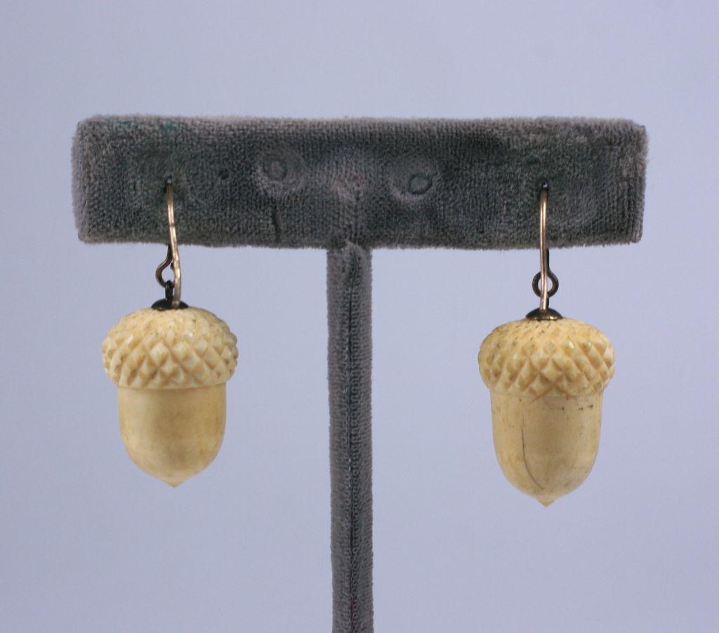 Victorian Ivory Acorn Earrings 3