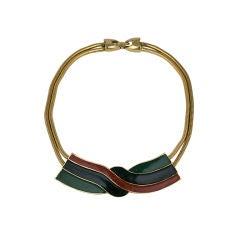 Lanvin Enamel Swirl Knot Necklace