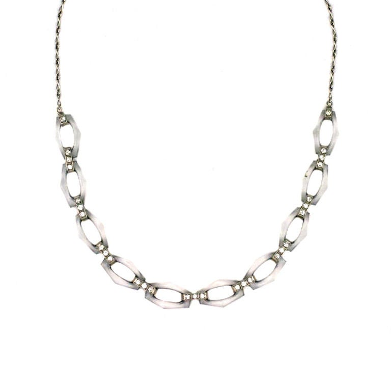 Tiffany Art Deco Rock Crystal and Diamond Necklace For Sale