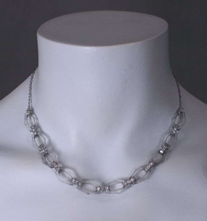 Tiffany Art Deco Rock Crystal and Diamond Necklace In Excellent Condition For Sale In Riverdale, NY