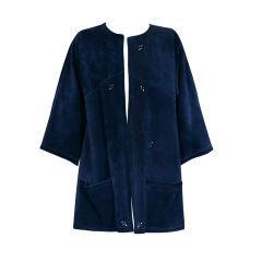 Jean Muir Navy Suede Pierced Jacket