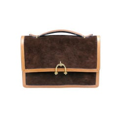 Elegant Suede Clutch with Gilt Stirrup Closure