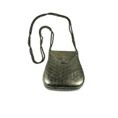 Textured Silver Metal Shoulder Bag