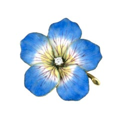 Victorian Enamel Gold Flower Brooch