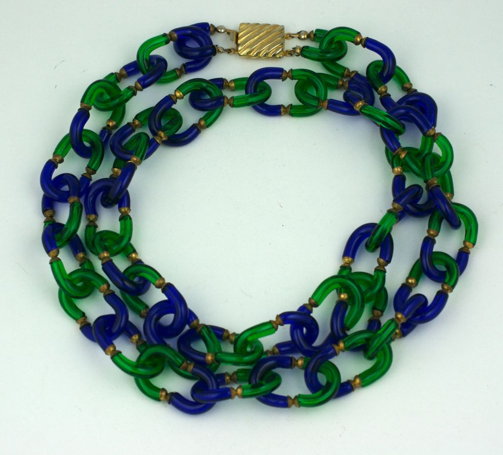 Archimede Seguso Necklace in Cobalt and Emerald Glass image 2