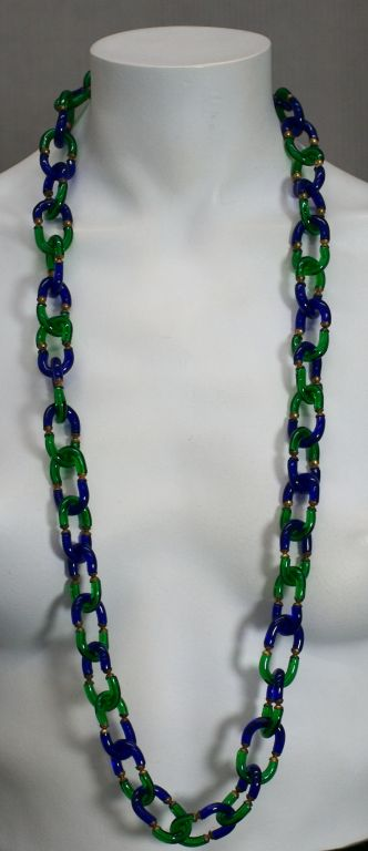 Archimede Seguso Necklace in Cobalt and Emerald Glass image 3