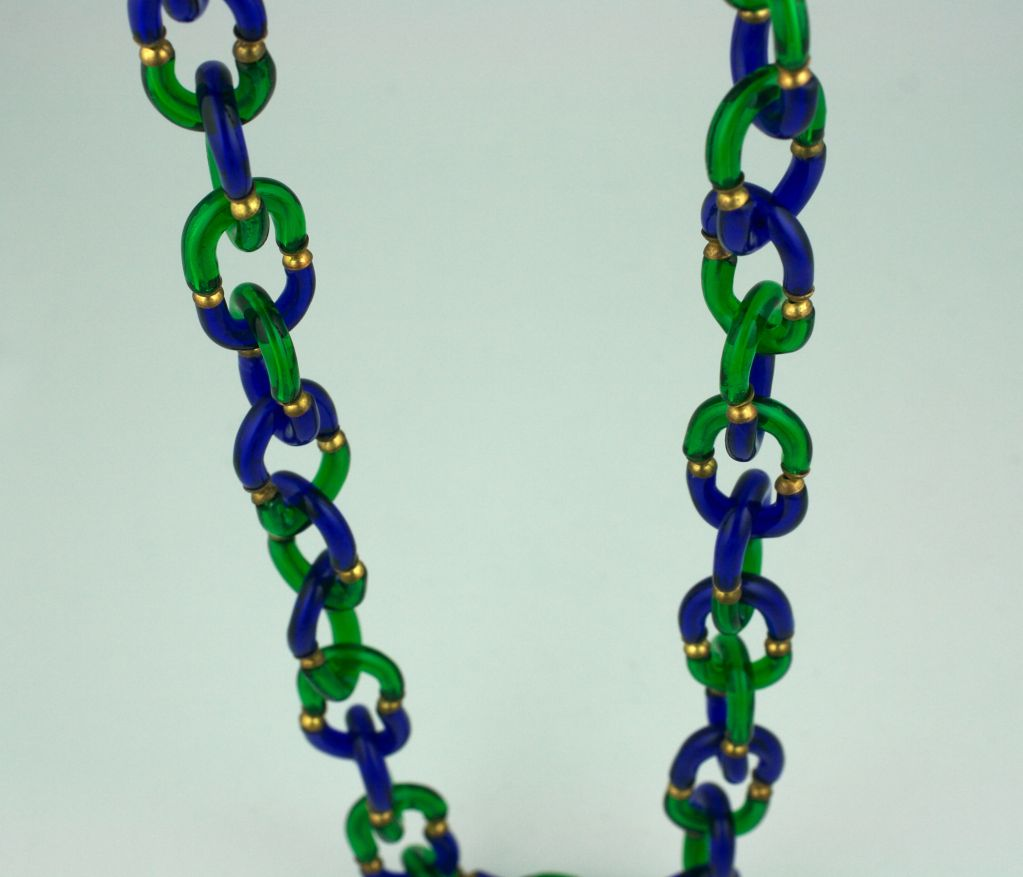 Archimede Seguso Necklace in Cobalt and Emerald Glass image 4