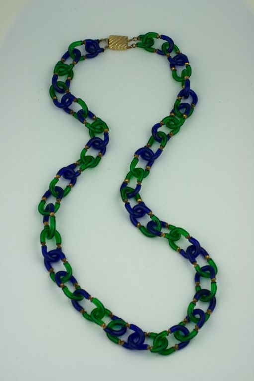 Archimede Seguso Necklace in Cobalt and Emerald Glass image 5